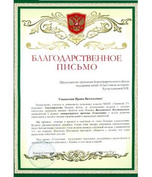 Благодарственное письмо от МАОУ «Гимназия №37″ г. Казани